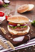 Country style cheeseburger. Stock Photos