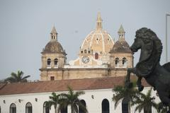 Panoramic view stonewall and church cartagena de indias colombia Stock Photos