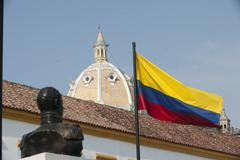 monument and stonewall cartagena colombia - stock photo