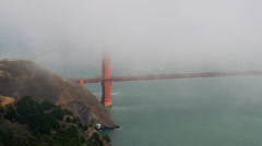 Partially visible Golden Gate with fog Stock Footage