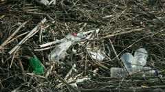 Close up of empty plastic bottles thrown in nature Stock Footage