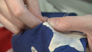 Stock Video Footage of Betsy Ross Sewing First Flag Closeup 3