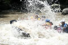group of friends doing rafting san gil and barichara colombia - stock photo
