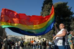 gay pride in jerusalem israel - stock photo