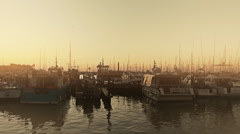 Stock Video Footage of Morning Haze in Harbor in France - Pan 1080p