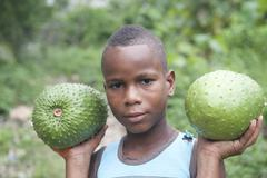Kid facing the camera with two tropical fruits on their hands capurgana colombia Stock Photos