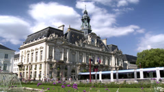 Hotel de ville de Tours (3) with modern Light Rail Vehicle (tram) Stock Footage
