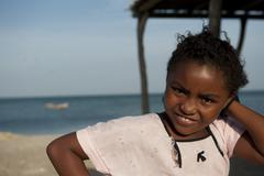 Girl looking at camera guajira colombia Stock Photos