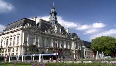 Hotel de ville de Tours (1) with modern tram Stock Footage