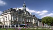 Stock Video Footage of Hôtel de ville de Tours (1) with modern tram