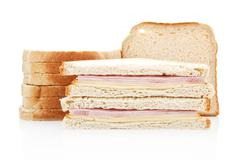 toast with turkey and cheese. junkfood. - stock photo