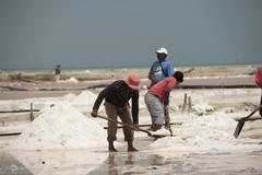 workers in a salt field guajira colombia - stock photo
