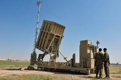 israeli anti-missile system - iron dome - stock photo