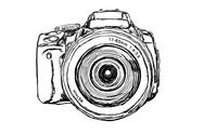 Stock Illustration of dslr camera - front view