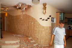 Kassam rocket hits sderot home Stock Photos