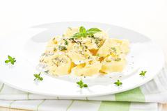 tortellini with cheese sauce. - stock photo