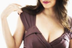 Close-up view of young woman's cleavage Stock Photos