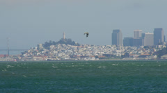 Kite surfer on rough waters of San Francisco Bay Stock Footage