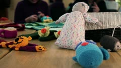 Knitted stuff by participants - stock footage