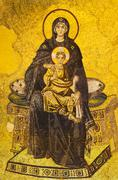 Turkey, Istanbul, Mosaic of Virgin mary and Jesus in Haghia Sophia Mosque Stock Photos