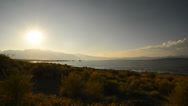 Stock Video Footage of Mono Lake 44 Navy Beach Sunset Tufas Clouds