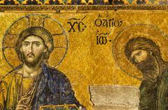 Turkey, Istanbul, Haghia Sophia Mosque, Mosaic of Christ Pantocrator with John Stock Photos