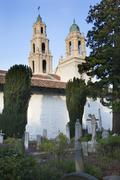 cemetary garden statues graves mission dolores san francisco california - stock photo
