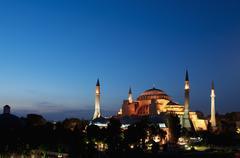 Turkey, Istanbul, Haghia Sophia illuminated at dusk Stock Photos