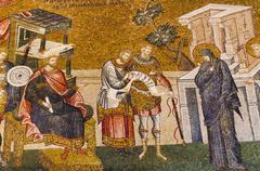 Turkey, Istanbul, Kariye Museum, Enrollment for taxation, fresco - stock photo