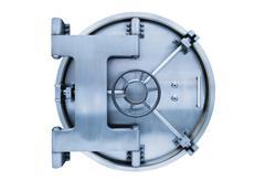 Bank vault door on white background - stock photo