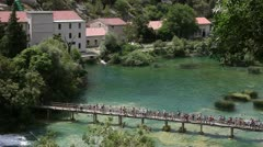 Panoramic shot of the bridge over the Krka river Stock Footage