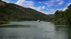 Panoramic shot of the canyon of the Krka river Stock Footage