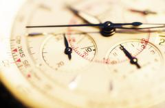 Close up of antigue clock face - stock photo