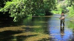 Fisherman fishing in the river, medium shot. Stock Footage