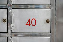Stainless steel lockers Stock Photos