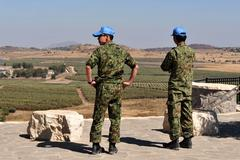 Sdf to exit u.n. pko in golan / war in syria poses threat to safety Stock Photos