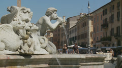 Fontana del Moro in Piazza Navona, Rome 17 (slomo dolly) Stock Footage