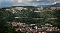 Stock Video Footage of Panoramic shot of a very traffic and industrial bay  of adriatic sea