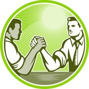 Stock Illustration of businessman office worker arm wrestling