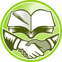 Handshake book pen woodcut circle Stock Illustration