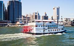 New york city, usa - paddle wheel queen of hearts steamboat Stock Photos