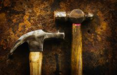 Antigue hammers, studio shot - stock photo