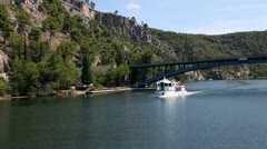 Panoramic shot made from the moving boat of river Krka`s shore Stock Footage