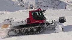 Snow Tractor on Mount Hermon Ski Resort Stock Footage