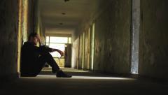 Dark Tunnel Depression Man Thinking Failure Concept HD - stock footage