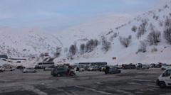 Car Parking on Hermon Mountain Ski Resort Stock Footage