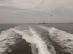Vintage Stylized View From Backside of Boat off Coast of Japan Stock Video Stock Footage