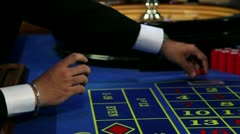 Playing roulette Stock Footage