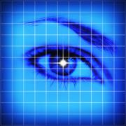Stock Illustration of Studio shot of grid pattern with female eye