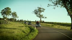Cars driving through a beautiful landscape Stock Footage